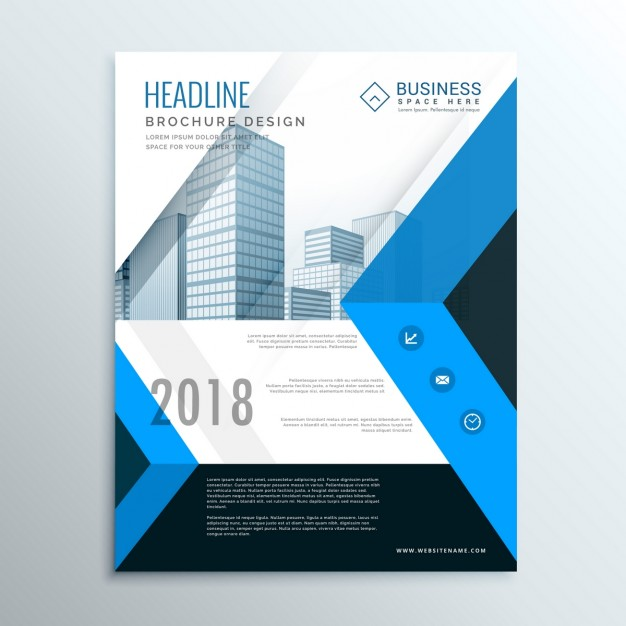 Blue and black geometric brochure with geometric shapes