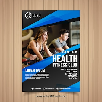 Blue and black gym cover template with image