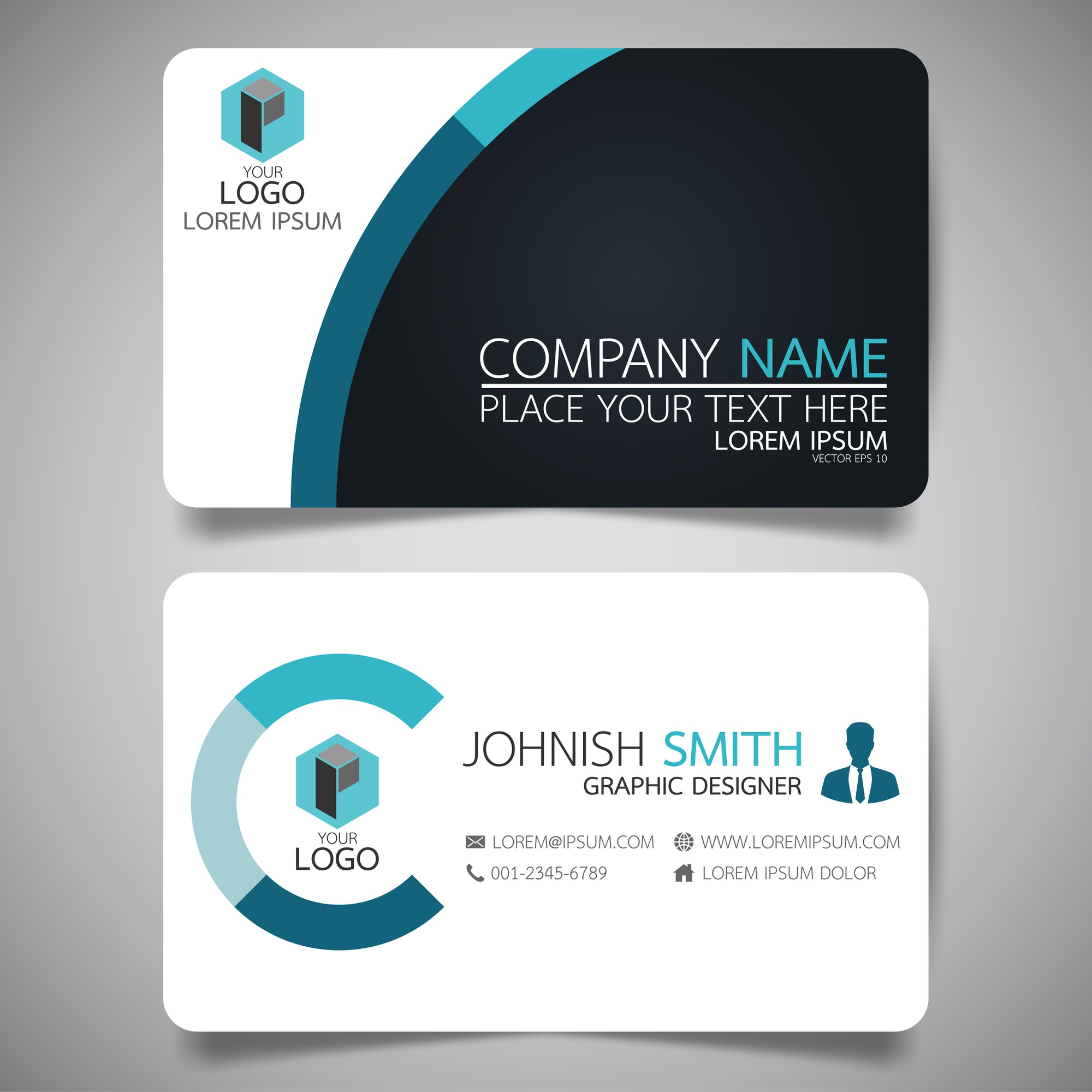 Blue and black layout business card template.