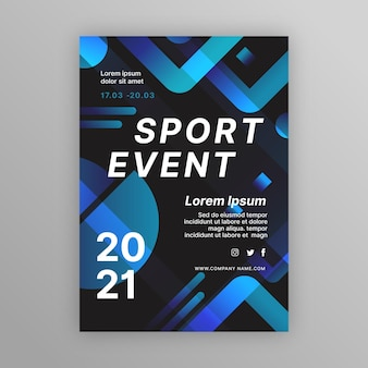 青と黒のスポーツイベントポスターテンプレート