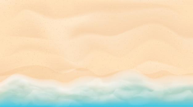 青と明るいターコイズブルーの海、白い砂。熱帯のビーチの背景。上面図。