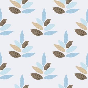 Синий и коричневый орнамент листьев бесшовные модели. светлый пастельный фон. скандинавский стиль