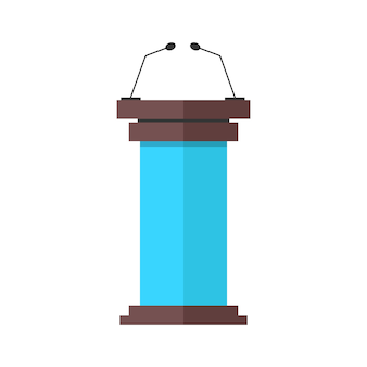 Синий и коричневый значок трибуны с микрофонами.