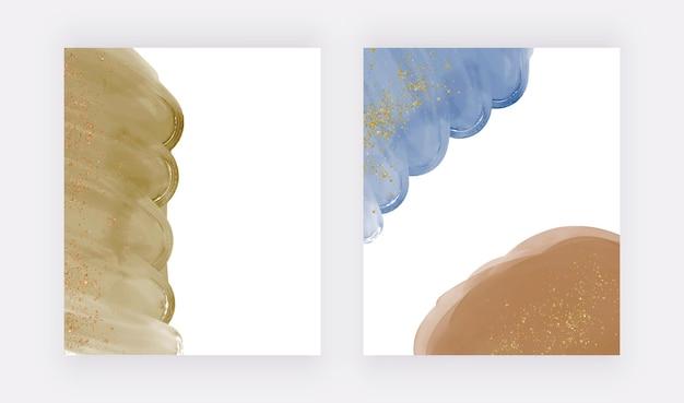 キラキラ紙吹雪と青と茶色の水彩画の背景