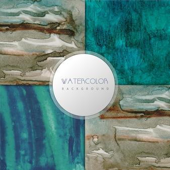 Голубая и коричневая цветовая коллекция фон wattercolor