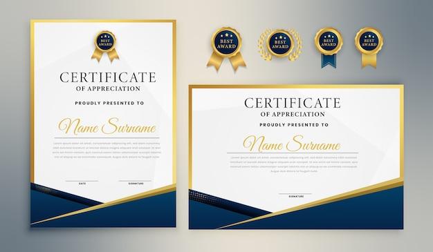 Синий и золотой сертификат для наград, бизнеса и образования Premium векторы