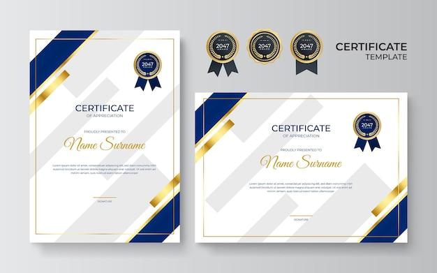 Синий и золотой сертификат достижения шаблона с золотым значком и рамкой. шаблон сертификата с золотым элементом украшения. выпускной диплом дизайнера, награждение. векторная иллюстрация