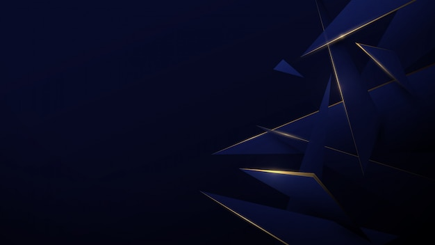 ブルーとゴールドの低ポリ抽象。技術デジタルこんにちは技術の背景。