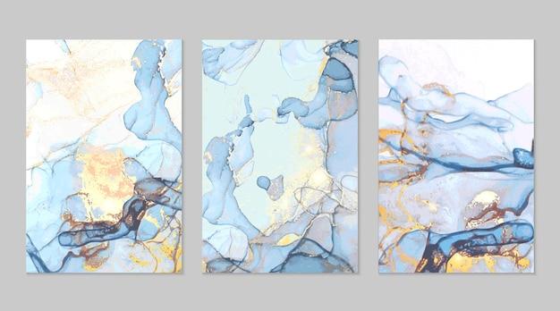 アルコールインク技術の青と金の大理石の抽象的なテクスチャ