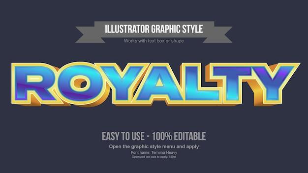Синий и золотой 3d мультяшный игровой редактируемый текстовый эффект