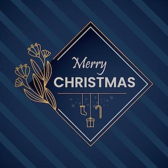 青と金色のクリスマスの背景ベクトル