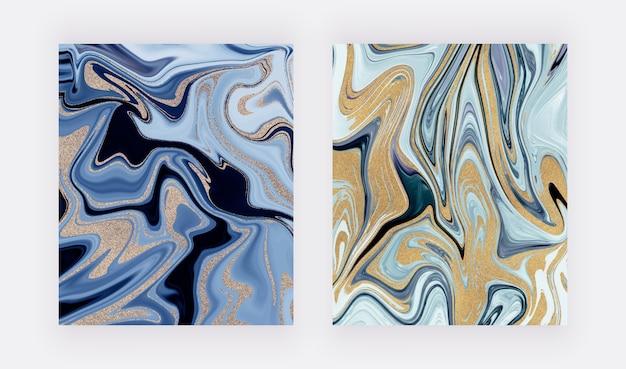 파란색과 황금색 반짝이 잉크 그림 액체 대리석 질감.