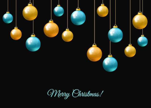 Синие и золотые висячие новогодние шары на черном фоне. рождественские реалистичные фенечки. векторные праздничные украшения.