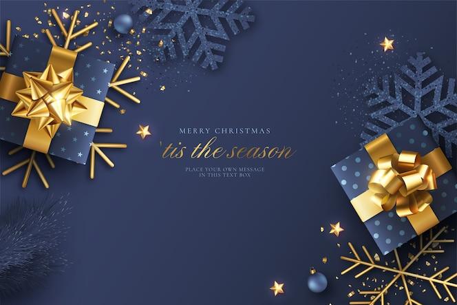 Синий и золотой реалистичный новогодний фон