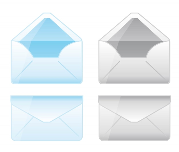 Whtie背景ベクトル上の青とグレーの封筒の漫画