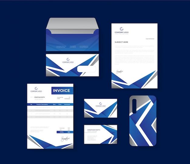 파란색과 회색 전문 비즈니스 문구 세트