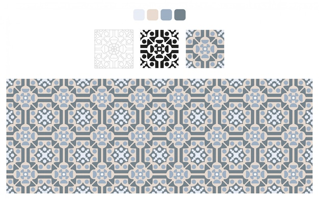 青とグレーのタイルデザイン。床パターン。ヴィンテージの装飾的な要素。