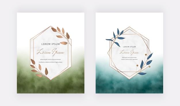 葉と幾何学的な大理石のフレームと青と緑のブラシストローク水彩カード。