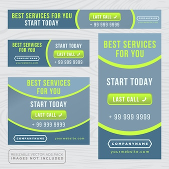 青と緑のビジネスバナー