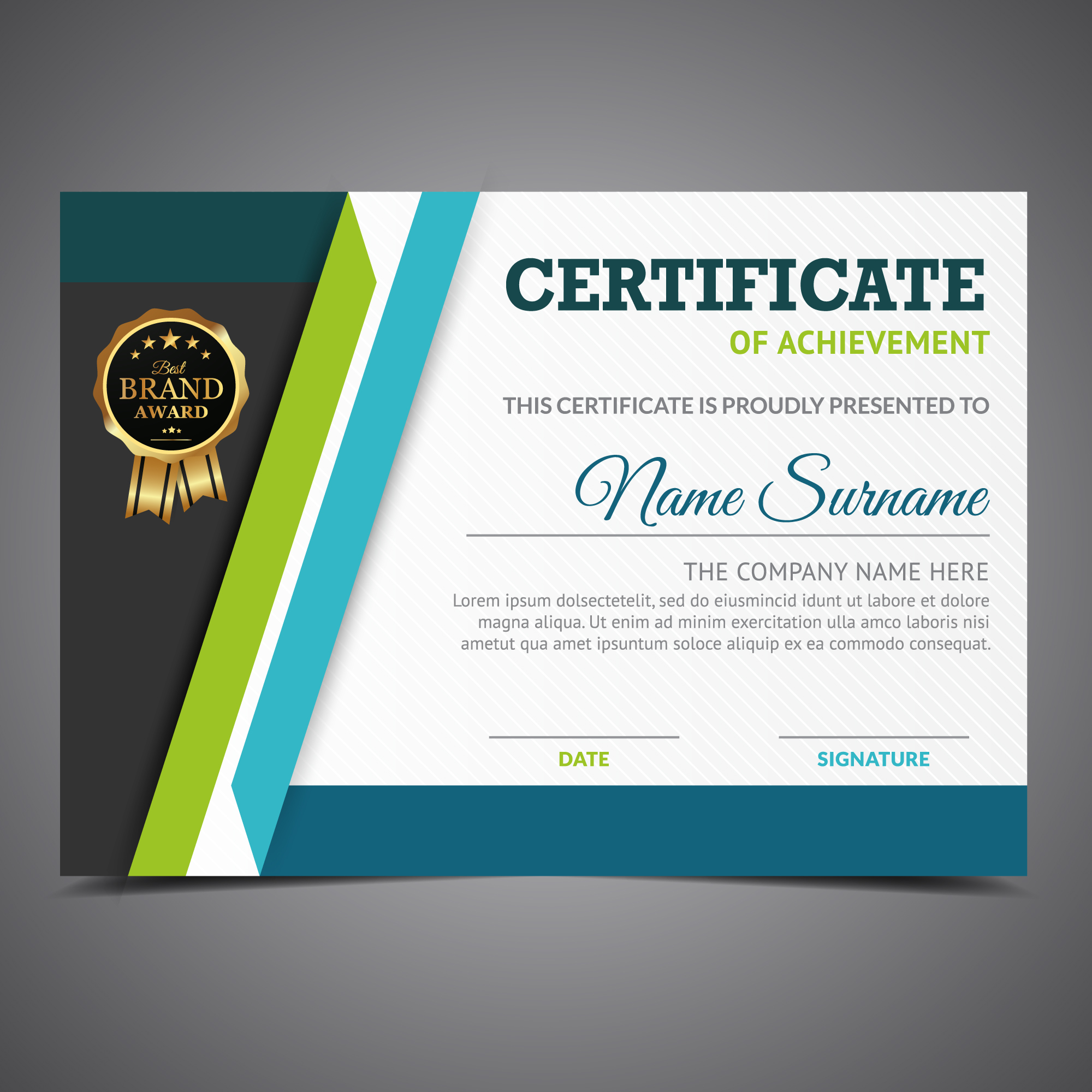 Blue and green certificate of achievement