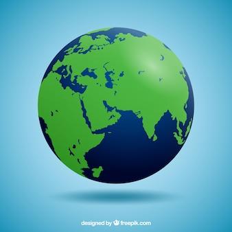 Синий и зеленый земной шар в реалистичном дизайне