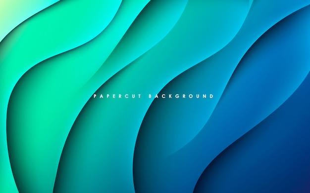파란색과 녹색 그라데이션 배경 동적 물결 모양의 빛과 그림자