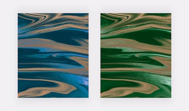 Синие и зеленые жидкие чернила с фольгой рисуют абстрактные фоны.