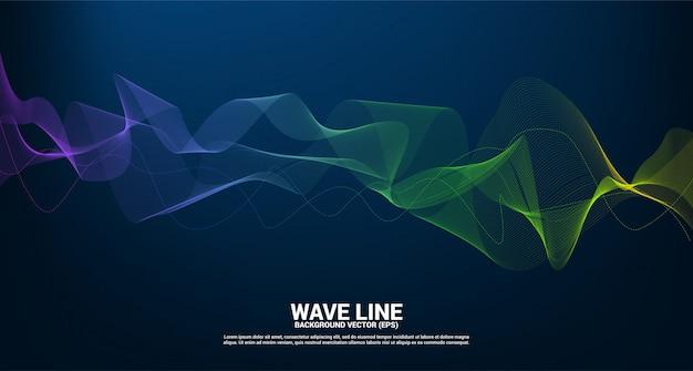 暗い背景に青と緑のサウンドウェーブラインカーブ。未来のテーマ技術の要素