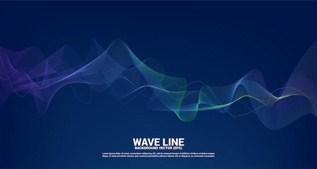 Синяя и зеленая кривая линии звуковой волны на темноте