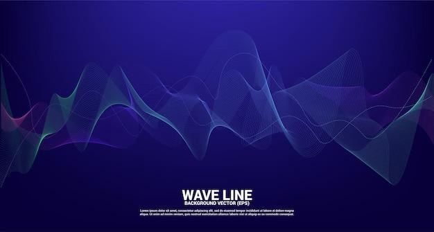 青と緑の音波の線の曲線。
