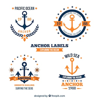 Blue and orange anchor badge collection