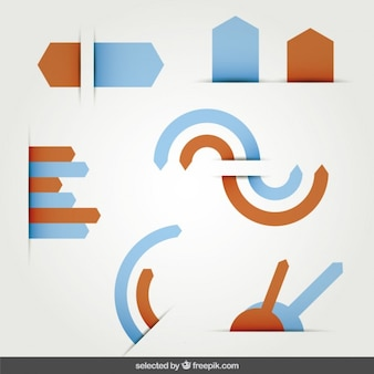 青色とオレンジ色の矢印が設定します
