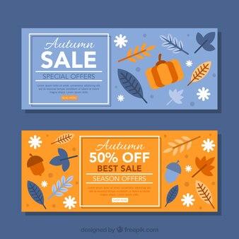 青とオレンジの秋の販売用バナー