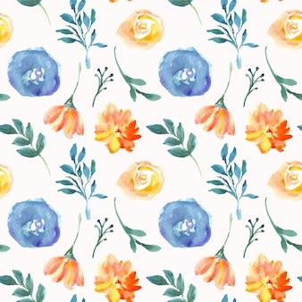 青とオレンジの花の水彩画のシームレスなパターン