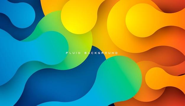 파란색과 주황색 그라데이션 동적 유체 배경