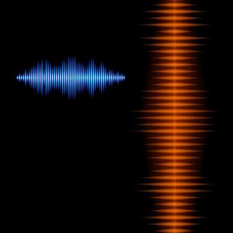 鋭いピークを持つ青とオレンジの光沢のある音の波形の背景