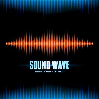 青とオレンジ色の光沢のある音の波形の背景