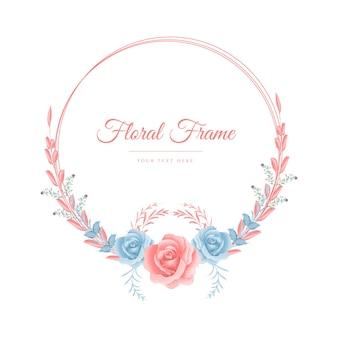 분홍색 프레임이 있는 파란색과 분홍색 장미 수채화 꽃 화환