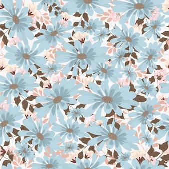 青とピンクの花のシームレスなパターン。