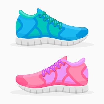 分離された青とピンクのランニングシューズ。スポーツスニーカーのイラスト。