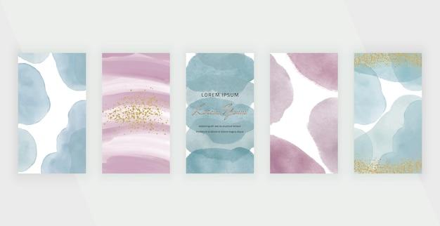 Синие и розовые баннеры с историями в социальных сетях с акварельными фигурами мазков кисти и конфетти с золотым блеском