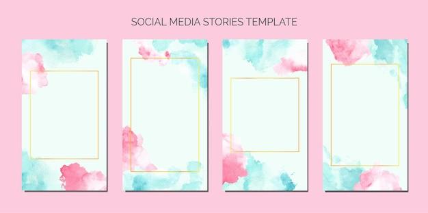소셜 미디어 이야기 템플릿의 파란색과 분홍색 수채화 얼룩