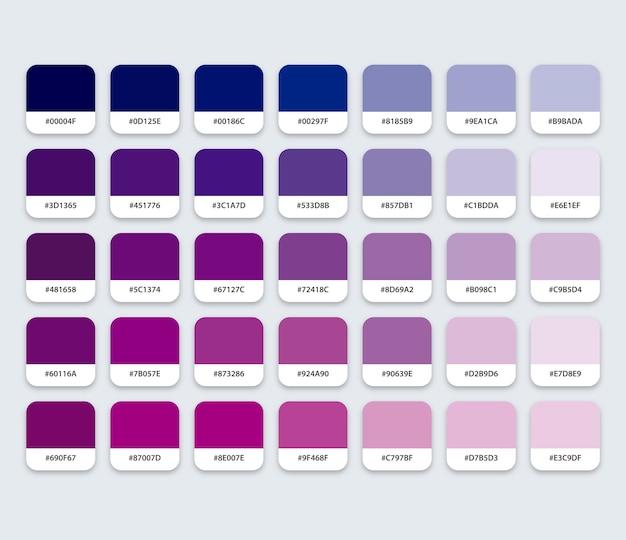 六角形の青と紫のカラーパレット
