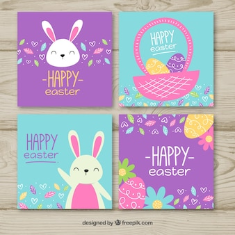 Blue and purple easter card set