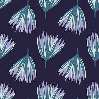 青と紫の手描きのチューリップの花のシームレスなパターン。ネイビーブルーの暗い背景に抽象的な芽のシルエット。