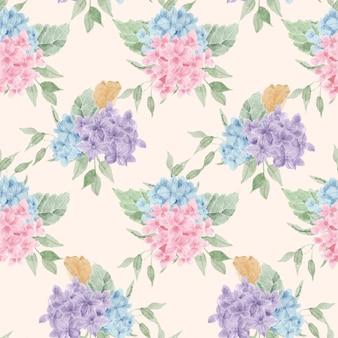 파란색과 보라색 수국 수채화 꽃 원활한 패턴