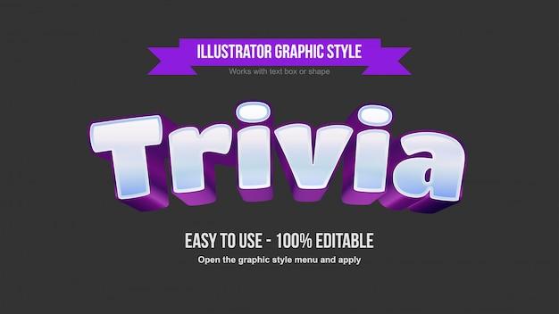青と紫のモダンな3d編集可能なゲームロゴのテキスト効果