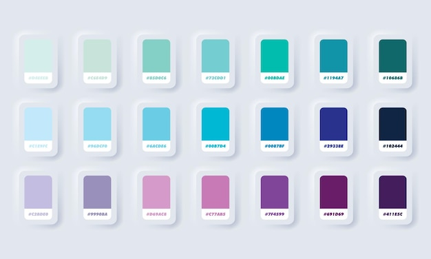Сине-фиолетовая пастельная цветовая палитра. каталог образцов синего и фиолетового цветов в rgb hex. каталог цветов. белая веб-кнопка пользовательского интерфейса neumorphic ui ux. неоморфизм.