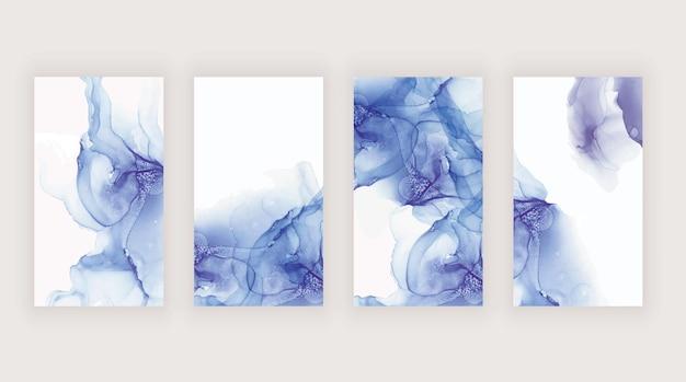 소셜 미디어 스토리 배너를위한 파란색과 보라색 수채화 알코올 잉크