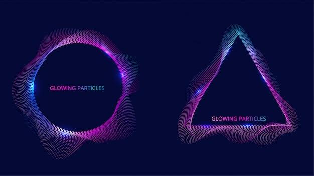 青と紫の波状粒子表面。抽象的なテクノロジーやサイエンスバナー。図